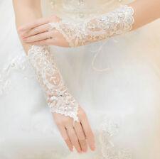 White Bridal Wedding Lace Fingerless Gloves Rhinestone Accents Wrist Length