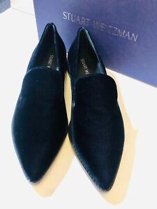 Stuart Weitzman size 8 navy blue velvet embellished loafer shoes New Runatab