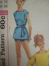 Vintage 60s Simplicity 3481 SQUARE NECK TUNIC & SHORTS Sewing Pattern Women Sz16