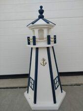 "24"" White Navy Lighthouse Poly Vinyl Yard Garden Decoration Outdoor Landscape"