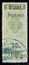 1907 Thailand Siam Postal Fiscals Provisional Issue 20 Ticals Sc#107 Used VFU