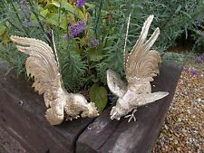 Beautiful French Vintage Pair Silver Cock Fighting Birds Roosters Ref T12/33