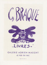 BRAQUE Antique Maeght Gallery Exhibition Poster Estampes Livres FRAMED COA
