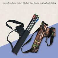 Hot Archery Arrow Quiver Holder 3 Tube Back Waist Shoulder Strap Bag Pouch Hunt