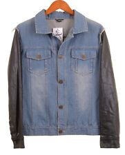 DSQUARED2 Blue Distressed Frayed Leather Sleeve Denim Jean Jacket 42