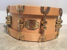 Premier Signia 5,5 x 14 maple snare drum ,wood hoops,rare !