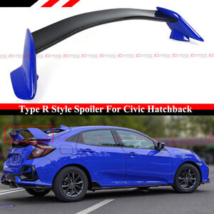 FOR 16-21 CIVIC FK4 FK7 5DR HATCHBACK 2 TONE BLUE BLK TYPE R STYLE SPOILER WING