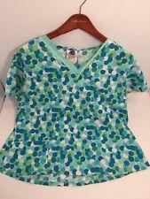Women's Scrubs M Medium 12 Top Multi-color Polkadots Blue Green Nurse Uniform
