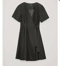 COS Tie-Up Wool Wrap Dress in Grey Size UK16 RRP£125 {N98}