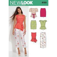 NEW LOOK PATTERN Misses' peplum top  neckline and sleeve vars slim pants 6130