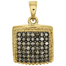 Brown Diamond Domed Square Pendant 10K Yellow Gold 0.50 CT. Charm