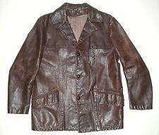 Vintage Brown Men's Leather Car Coat Jacket