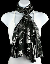 Musical Instruments Womens Scarf Piano Trumpet Strings Scarfs Gift Scarves New