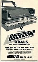 1957 Print Ad Arrow Mufflers Rocketone Fiberglass Packed Duals Power Performance