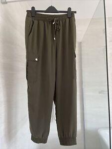 Dorothy perkins ladies khaki/olive high waist summer joggers/trousers size 10