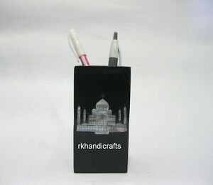 04 Inches Black Marble Pen Stand Inlay with Taj Mahal Replica for Office Table