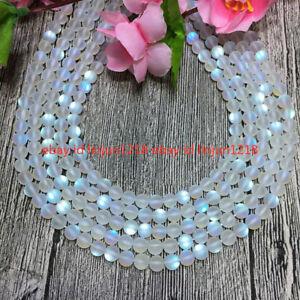 Natural 6mm White Gleamy Rainbow Moonstone Round Gems DIY Loose Beads 15''