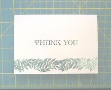 Thank You Note 20 White Stock with Green Foil Branches 20 White Smooth Envelopes