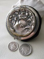 Antique Art Nouveau Floral Black Crochet Steel Bead Tam O Shanter Coin Purse