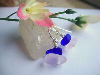 Sea Glass Pink Cobalt Blue Silver Dangle Earrings
