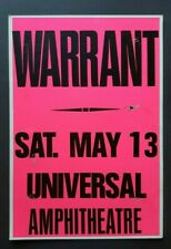 Warrant Original Promo Concert Poster 1989 La Guns N Roses Faster Pussycat Ratt