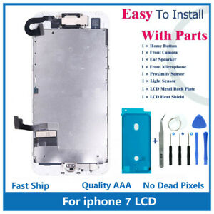 """iPhone 7 4.7"""" Full Screen Replacement LCD Front Camera Speaker Home Button Kit"""