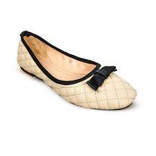 RUSTY LOPEZ Cream Black Ballerina Ladies Shoes Slip On Women's Girls Ballet Flat