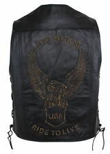 Herren Motorrad und Freizeit Live to Ride Leder Weste Biker Club Custom Kutte
