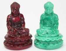 "Set of 2 Feng Shui 2"" Red & Green Meditating Buddha Figurine Peace Statue Gift"