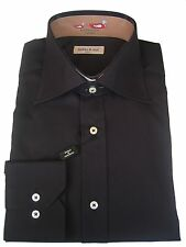 "Shirt - Dress - Men's - 15 1/2"" neck - Cotton - Italian - Black - From Italy"