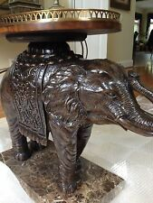 Maitland Smith Painted Antique Finished Elephant Table w/ Brass Gallery Tray Top