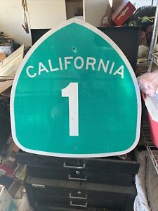 """California Highway Sign """"Highway Pch 1 Original 25 x 24 Inch Auction"""