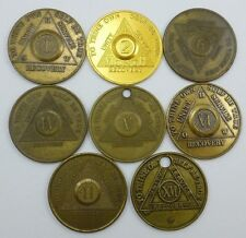 Lot of 8 Alcoholics Anonymous Recovery Medallion/ Chip/ Coin/ Medal/ Token's