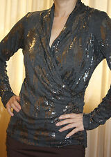 Velvet Sequined Faux Wrap long sleeve top Size S NWOT $199 Very Sparkly!
