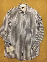 Banana Republic Large Men's Striped Shirt Button Down Front Pocket-Blue/White