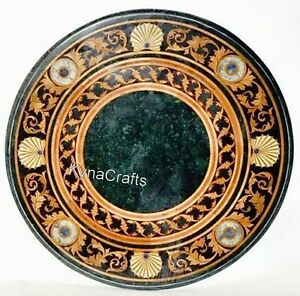 27 Inches Marble Coffee Table Top Mosaic Art Sofa Table for Hallway Area Decor