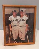 Vintage New York Yankees 8x10 Color Photograph Mantle & Maris w Burl Maple Frame