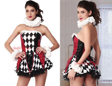 Sexy JESTER COSTUME Harlequin ROMPER + Metallic Thigh Highs & Cuffs  Sequins OS