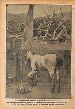 Poilus Tranchée Lance Grenades Arbalète Bataille Champagne WWI 1915 ILLUSTRATION