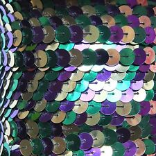Sequin Trim 8mm Iron On Purple Green Gold Mardi Gras Metallic. Made in USA