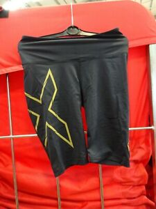 2XU Women's Lightspeed Mid-Rise Compression Shorts SIZE: S BLACK/GOLD ]