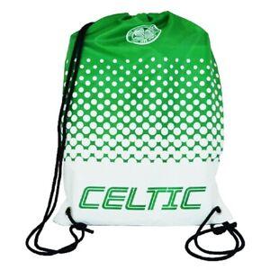 Celtic Football Club Official Gymbag Swimming Kit Bag PE Bag Drawstring Green