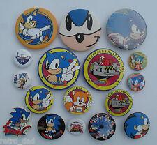Sega SONIC THE HEDGEHOG Rare LOT of 17 Vintage TIN BUTTON Pin BADGES Pins Badge