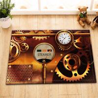 "15X23"" Kitchen Bathroom Floor Non-Slip Mat Rug Carpet Retro Steam Punk Clock"
