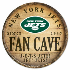 NFL New York Jets J-e-t-s Fan Cave Rund Wood Sign Holzschild Holz Deko Football