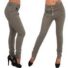 Jeans Boyfriend Pantalon Skinny de taille basse treggings boutons 34-46