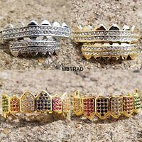 New Silver Plated High Quality Big CZ Top & Bottom GRILLZ Mouth Teeth