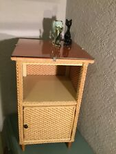 Fab Retro/Vintage Lloyd Loom Style Bedroom/Bathroom Cabinet/Cupboard #4940