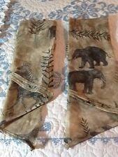 2 Waverly  Congo Ascot Valance Sheer Tan Parchment Animal Print