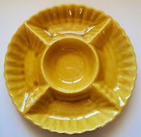 "California USA Pottery Snack Platter Yellow 645 14 1/4"" Chip Dip Veggie Bowl"